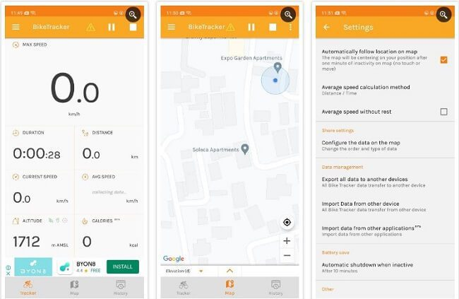 تطبيق Bike Tracker