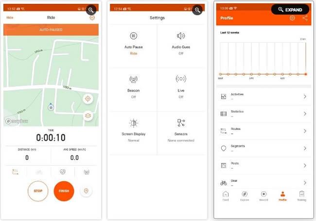 تطبيق Strava تطبيقات لتحويل هاتف الأندرويد كحاسوب أثناء قيادة الدراجة الهوائية