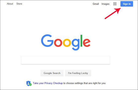 قم بتسجيل الدخول إلى حسابك في جوجل الخاص بك