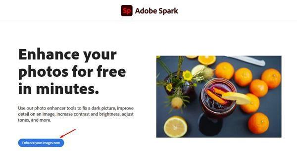 موقع Adobe Spark تحسين جودة الصور أونلاين
