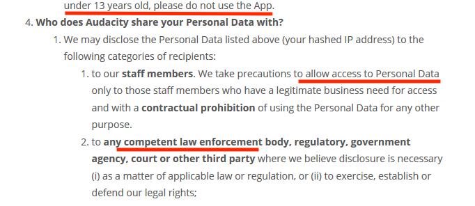 شروط الخصوصية الجديدة في برنامج Audacity