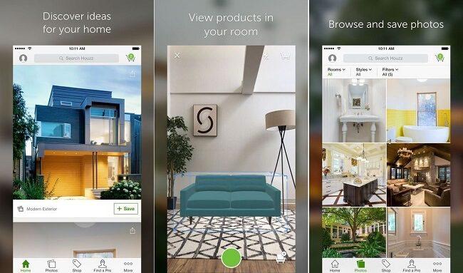 تطبيق Houzz تطبيقات تصميم منازل