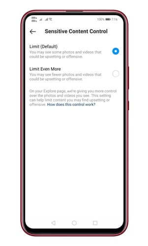 حظر المحتوى الحساس في تطبيق انستجرام 1