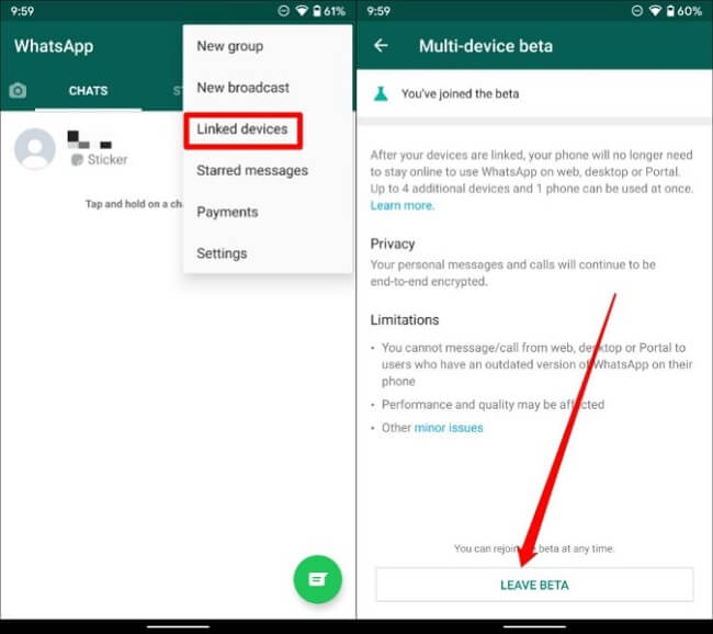 استخدام WhatsApp على أجهزة متعددة