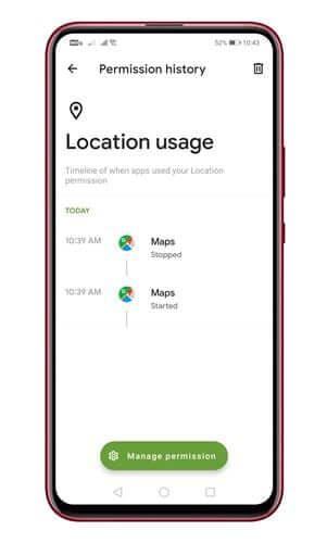 تطبيق Privacy Dashboard 6