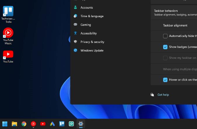 نقل أيقونات شريط المهام إلى اليسار في Windows 11 3