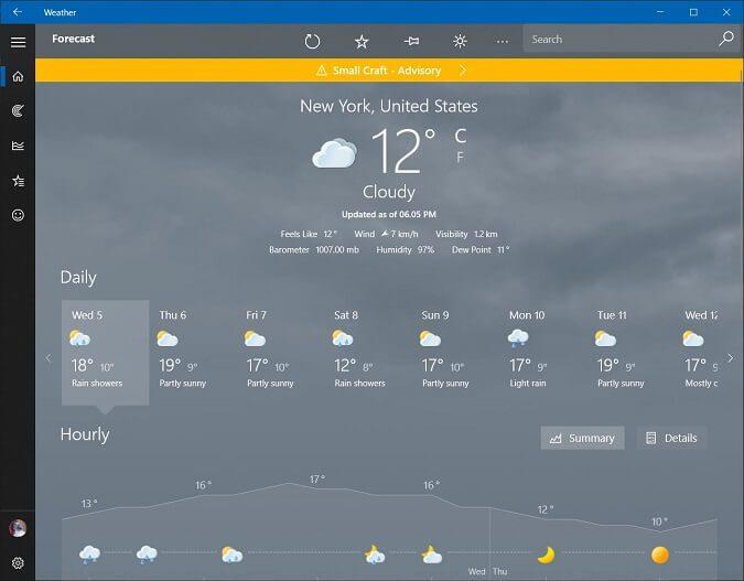 برنامج MSN Weather برامج الطقس للحاسوب