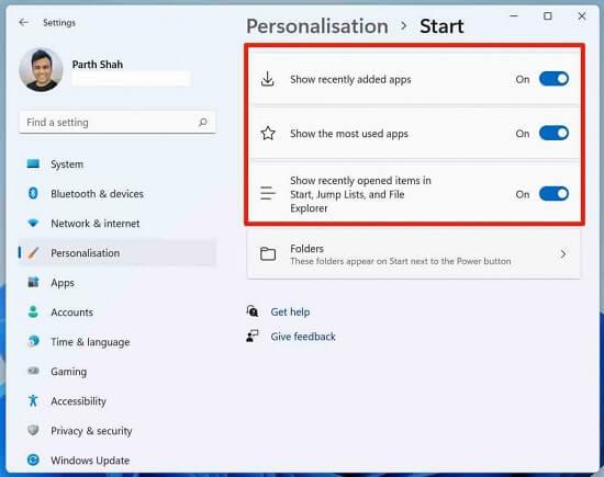 قائمة ابدأ في Windows 11
