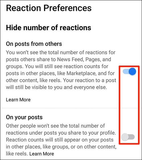 طريقة إخفاء عدد الإعجابات في تطبيق Facebook 5