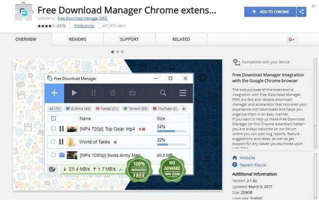 إضافة Free Download Manager