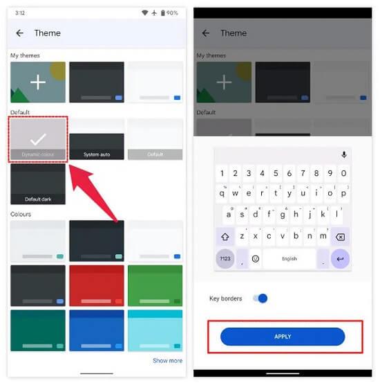 تغيير لون ثيمات لوحة المفاتيح Gboard 2