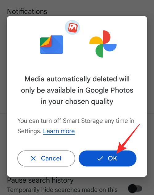 حذف الصور ومقاطع الفيديو التي تم نسخها احتياطيًا تلقائيًا 3