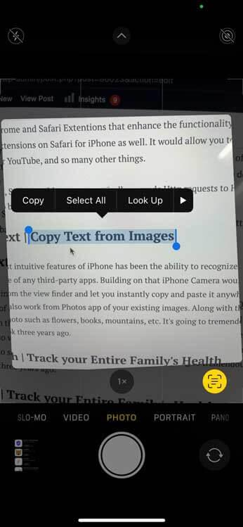 Live Text - نسخ نص من الصور